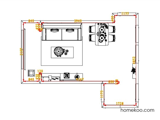 平面布置图德丽卡系列客餐厅G1171