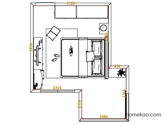平面布置图德丽卡系列卧房A6396