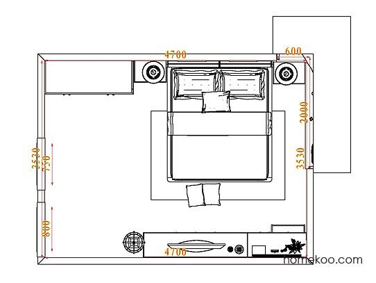 平面布置图德丽卡系列卧房A4877