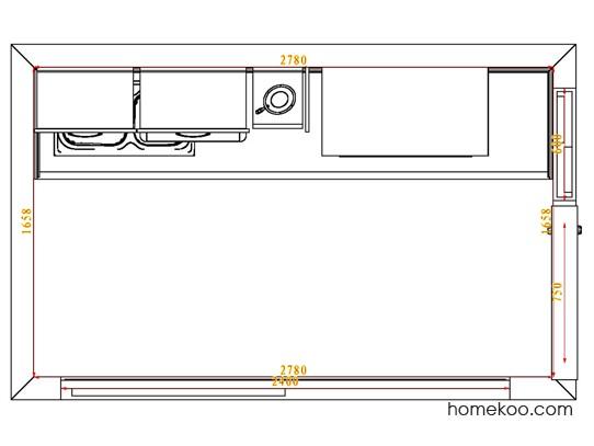 平面布置图德丽卡系列厨房F4101