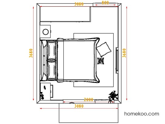 平面布置图格瑞丝系列卧房A5076