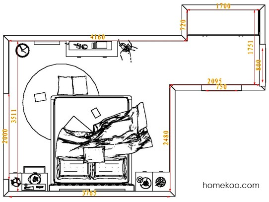 平面布置图乐维斯系列卧房A5149