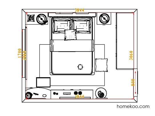平面布置图乐维斯系列卧房A5526