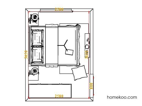 平面布置图德丽卡系列卧房A5541