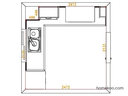 平面布置图德丽卡系列厨房F4447