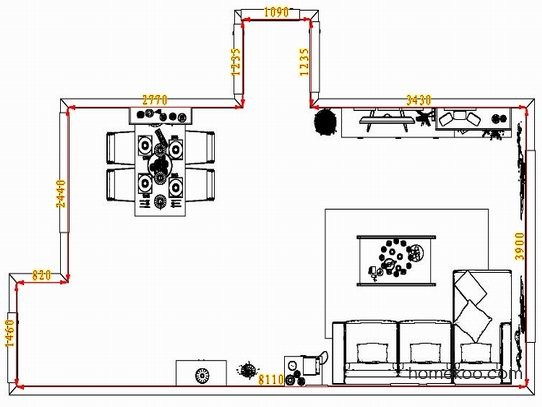 平面布置图德丽卡系列客餐厅G1595