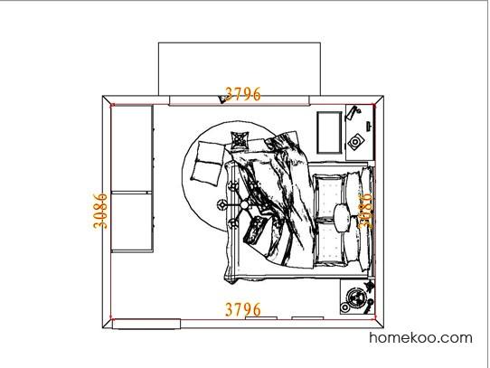 平面布置图德丽卡系列卧房A6516