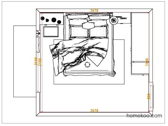 平面布置图格瑞丝系列卧房A6604