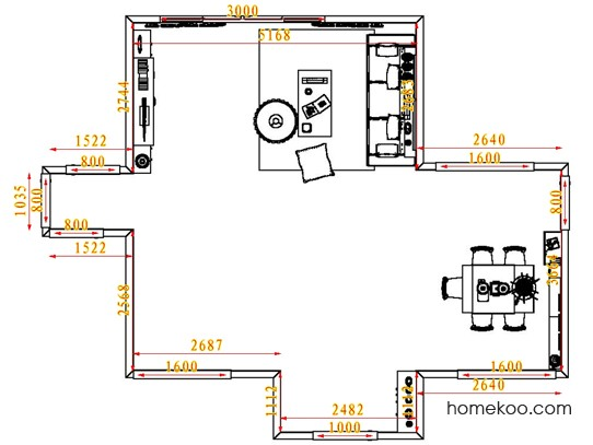 平面布置图德丽卡系列客餐厅G6527