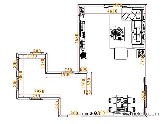 平面布置图德丽卡系列客餐厅G7822