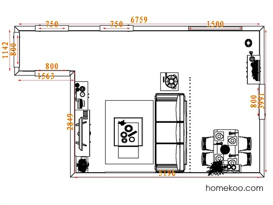 平面布置图贝斯特系列客餐厅G7834