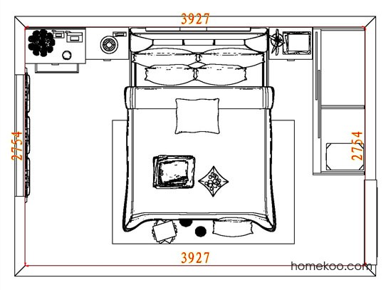 平面布置图德丽卡系列卧房A7850
