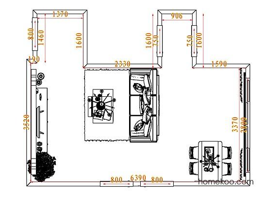 平面布置图德丽卡系列客餐厅G7849