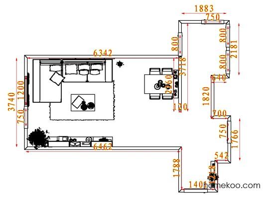 平面布置图德丽卡系列客餐厅G7913