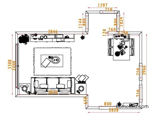 平面布置图贝斯特系列客餐厅G8054