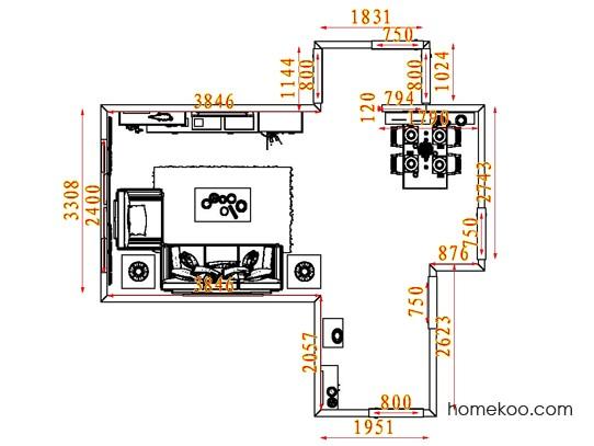 平面布置图德丽卡系列客餐厅G8055