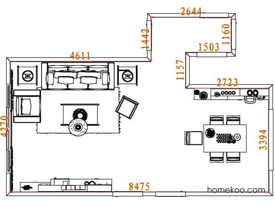 平面布置图德丽卡系列客餐厅G8364