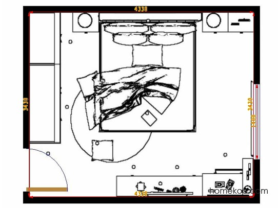 平面布置图德丽卡系列卧房A9525