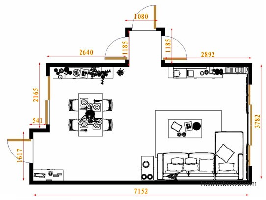 平面布置图柏俪兹系列客餐厅G8694