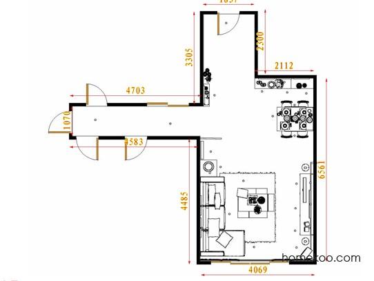 平面布置图斯玛特系列客餐厅G8753