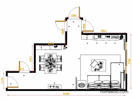 平面布置图斯玛特系列客餐厅G8757