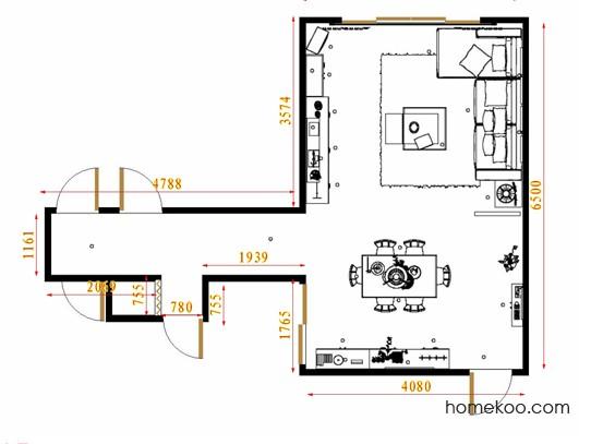 平面布置图德丽卡系列客餐厅G8765