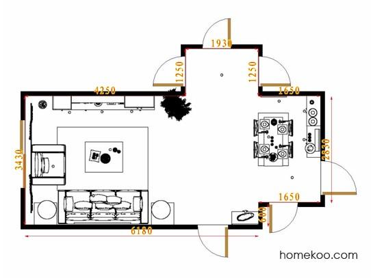平面布置图德丽卡系列客餐厅G8783