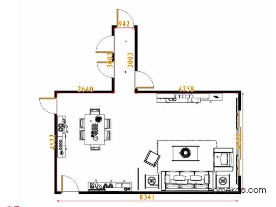 平面布置图斯玛特系列客餐厅G8827