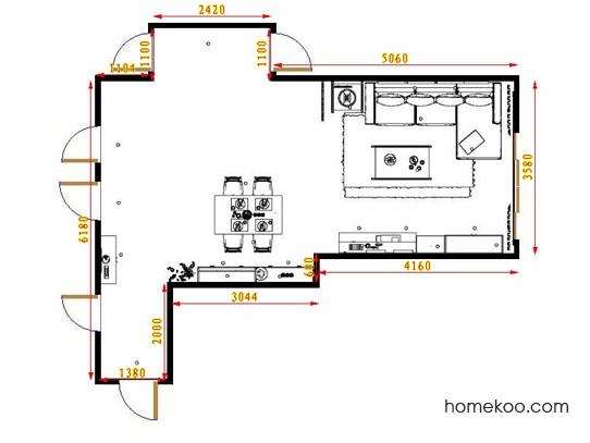 平面布置图德丽卡系列客餐厅G9065