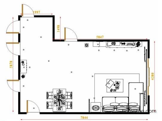 平面布置图贝斯特系列客餐厅G9096