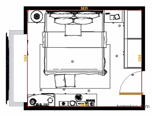 平面布置图格瑞丝系列卧房A10422