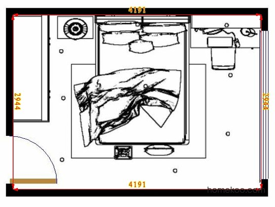 平面布置图格瑞丝系列卧房A10654