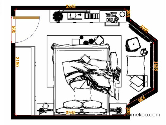 平面布置图德丽卡系列卧房A10673