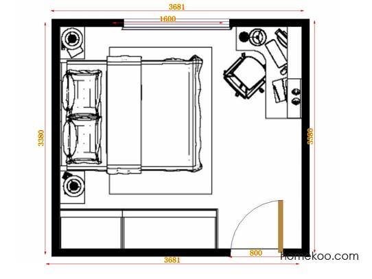 平面布置图德丽卡系列卧房A10762