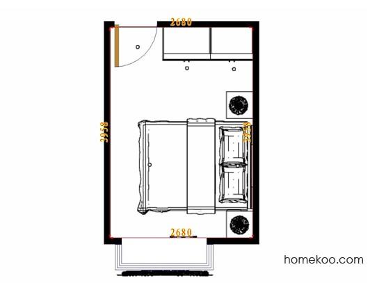 平面布置图德丽卡系列卧房A10799