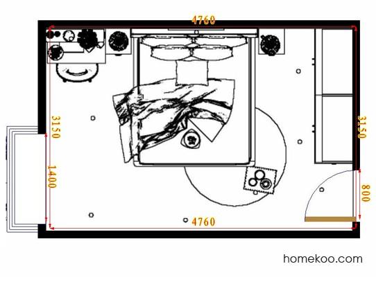 平面布置图德丽卡系列卧房A10805