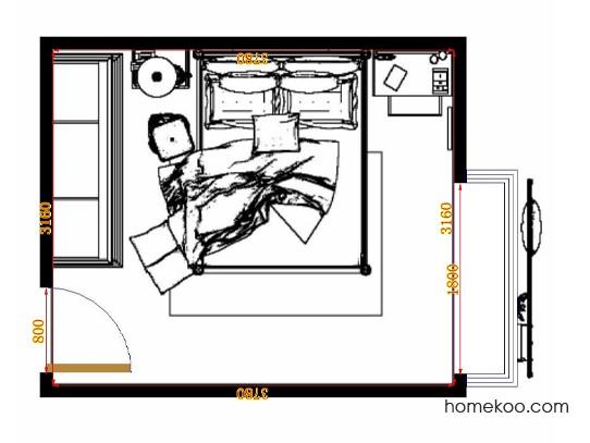 平面布置图格瑞丝系列卧房A10866