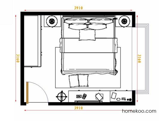 平面布置图德丽卡系列卧房A10965