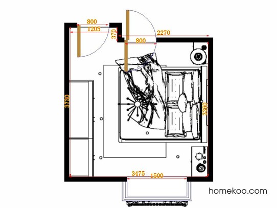 平面布置图格瑞丝系列卧房A11333