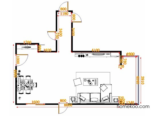 平面布置图柏俪兹系列客餐厅G10615