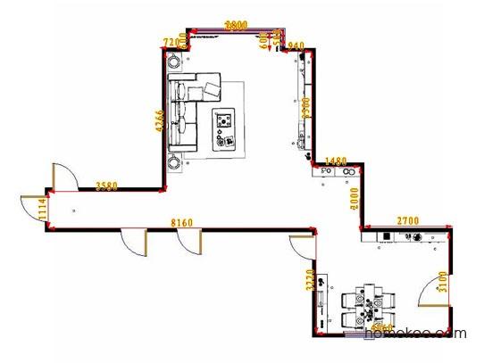 平面布置图斯玛特系列客餐厅G10754