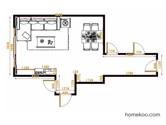 平面布置图德丽卡系列客餐厅G10858