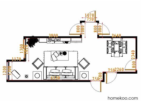 平面布置图德丽卡系列客餐厅G10886