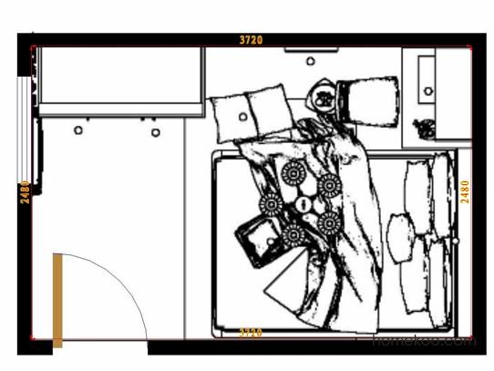 平面布置图德丽卡系列卧房A11804