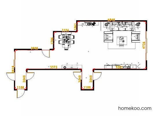 平面布置图贝斯特系列客餐厅G10930