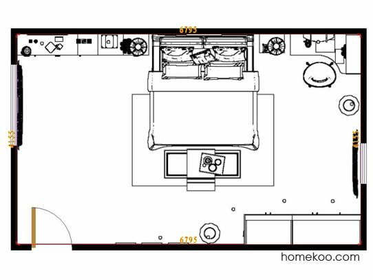平面布置图德丽卡系列卧房A12119
