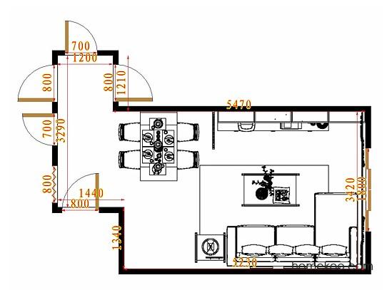 平面布置图斯玛特系列客餐厅G11232