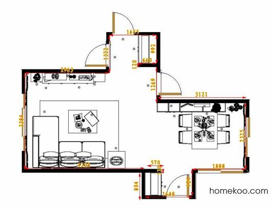 平面布置图德丽卡系列客餐厅G11307