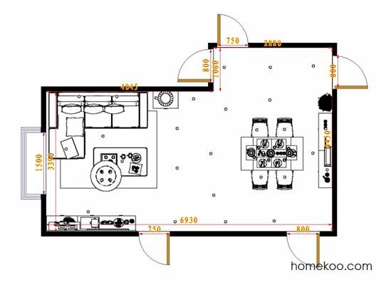 平面布置图柏俪兹系列客餐厅G11437