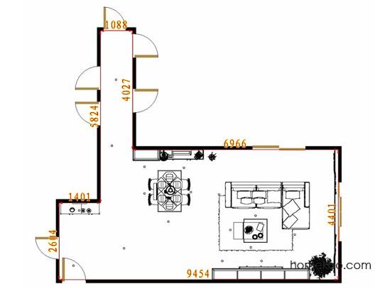 平面布置图德丽卡系列客餐厅G11629